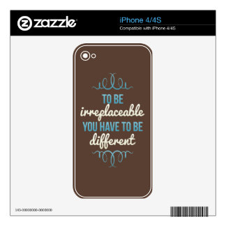Be Irreplaceable Be Different Blue Brown iPhone 4 Decal
