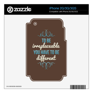 Be Irreplaceable Be Different Blue Brown Skins For iPhone 3GS