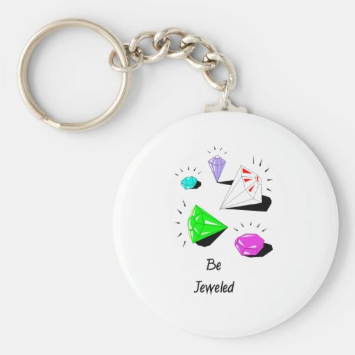 Be Jeweled Basic Round Button Keychain