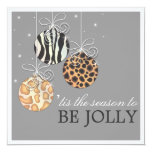 """Be Jolly Christmas Ornament Holiday Party Invite 5.25"""" Square Invitation Card"""