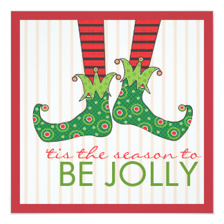 Be Jolly Fun Elf Feet Holiday Christmas Party Card