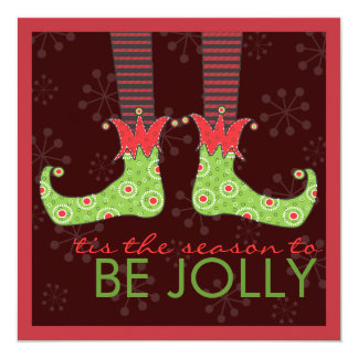 Be Jolly Fun Elf Feet Holiday Christmas Party Invites