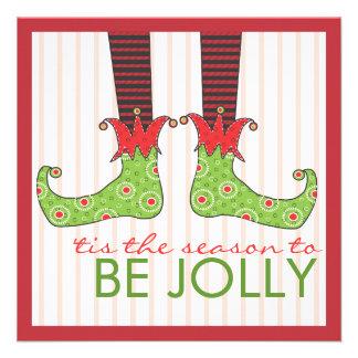 Be Jolly Fun Elf Feet Holiday Christmas Party Invite