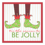 Be Jolly Fun Elf Feet Holiday Christmas Party 5.25x5.25 Square Paper Invitation Card
