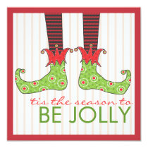 Be Jolly Fun Elf Feet Holiday Christmas Party Invitation