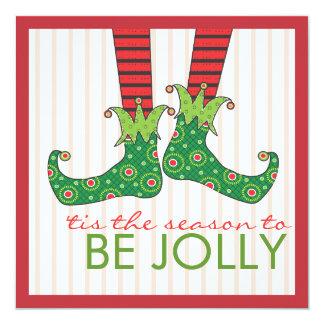 Be Jolly Fun Elf Feet Holiday Christmas Party Invitation