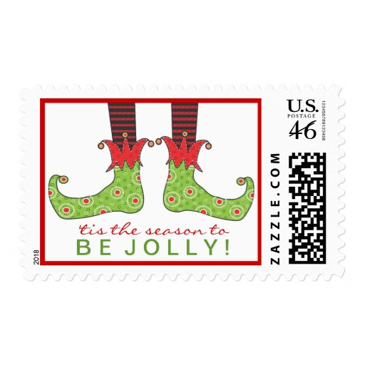 Be Jolly Fun Elf Feet Holiday Christmas Postage