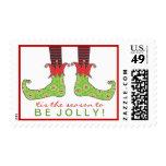 Be Jolly Fun Elf Feet Holiday Christmas Postage