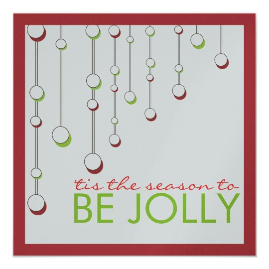 Be Jolly Modern Metallic Silver Christmas Party Card