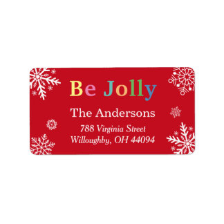 Be Jolly Snowflakes Holiday Blessings Label