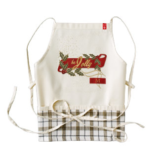 Be Jolly with Gold Flecks and Red Ribbon Zazzle HEART Apron