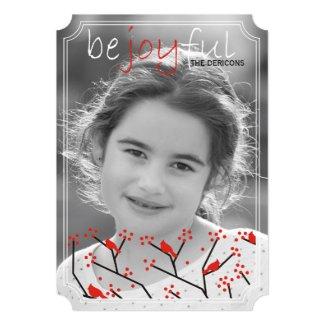 """Be joyful"" cardinals and berries Christmas photo 5x7 Paper Invitation Card"