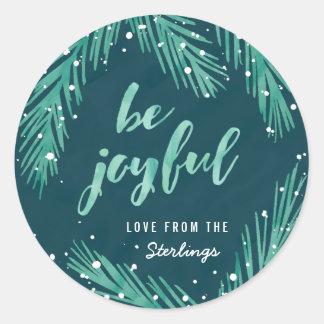 Be Joyful Christmas Sticker | Snow & Pines