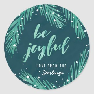 Be Joyful Christmas Sticker | Snow & Pines
