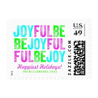 Be Joyful Colorful Christmas Holiday Custom Postage
