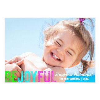 Be Joyful Colorful Christmas Holiday Photo Card