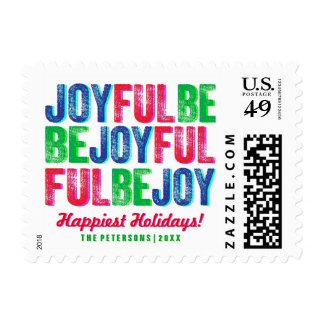 Be Joyful Colorful Christmas Letterpress Custom Stamp