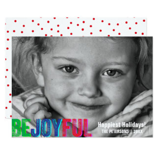 Be Joyful Colorful Holiday Letterpress Photo Card