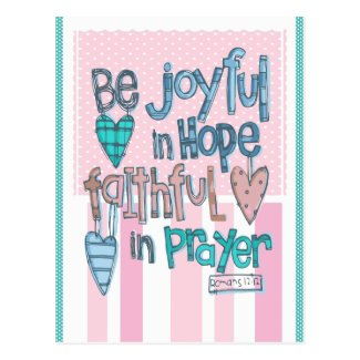 Be Joyful in Faith Pink Postcard
