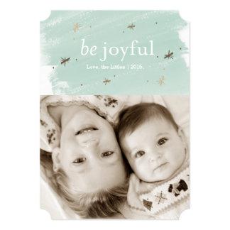 Be Joyful Mint Watercolor Holiday Photo 5x7 Card