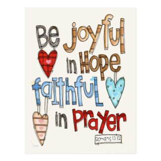 Be Joyful Primitive Font Illustrated Postcard