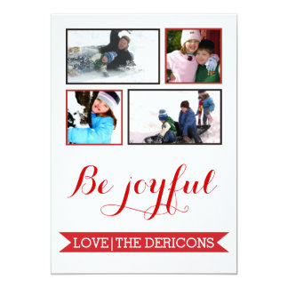 Be Joyful red banner Christmas Groupon photo Personalized Announcements