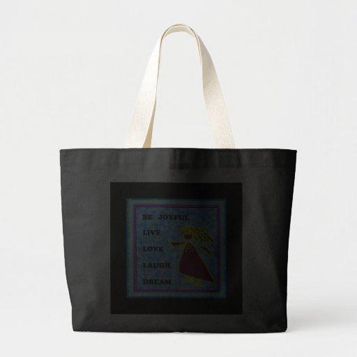 Be Joyful Whimsical Lady : Live Love Laugh Dream Tote Bags