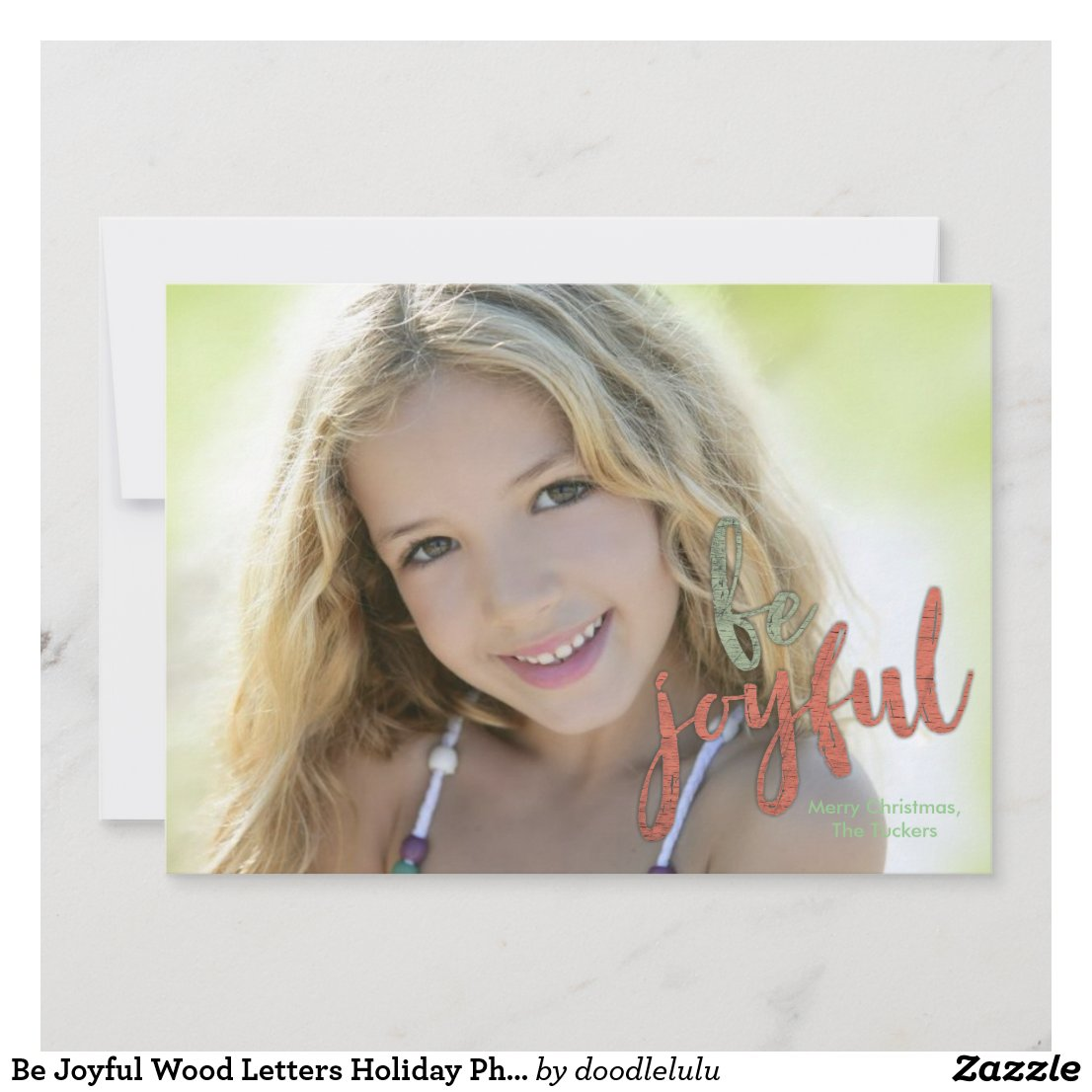 Be Joyful Wood Letters Holiday Photo Card