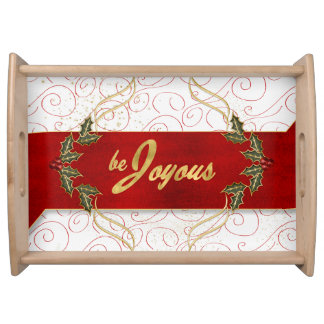 Be Joyous Golden Trim Holly and Red Ribbon Serving Tray