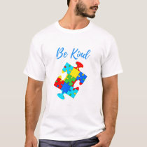Be Kind Autism Awareness Colorful Puzzle Piece T-Shirt