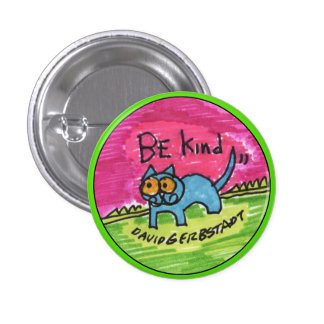 Be Kind blue cat with pink sky Pinback Button