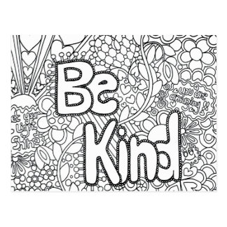 be kind coloring postcard gift