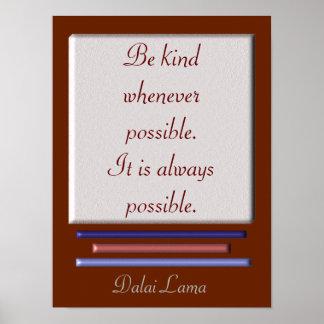 Be Kind - Dalai Lama quote - art print