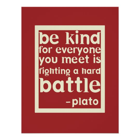 Be Kind Inspirational Words Poster Red Zazzle Com