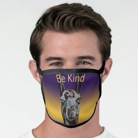 Be Kind Llama AllOver Cotton & Poly Blend Facemask