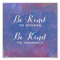 Be Kind Quote on Abstract Blue   Background Poster
