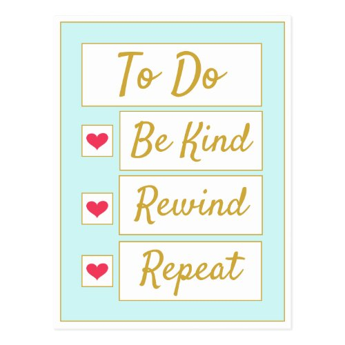 Be Kind, Rewind, Repeat Light Blue & Gold Postcard