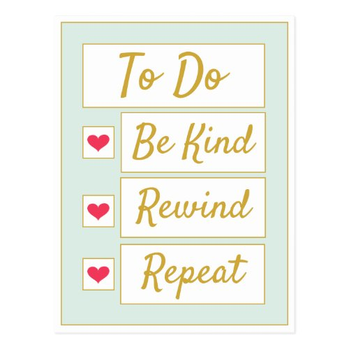 Be Kind, Rewind, Repeat Light Green & Gold Postcard