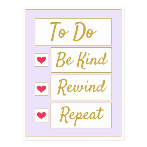 Be Kind, Rewind, Repeat Purple & Gold Postcard