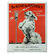 "Be Kind To Animals - Dog ""Calling All Humans"" Poster"