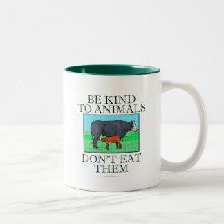 Be kind to animals. Don't eat them. (mug) Two-Tone Coffee Mug