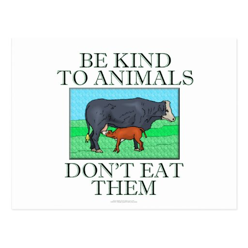 Be kind to animals. Don't eat them. Postcard