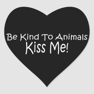 Be Kind To Animals Heart Stickers
