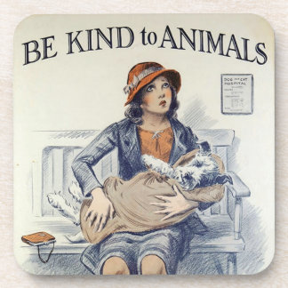 Be Kind To Animals plastic coaster
