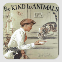 Be Kind to Animals Square Sticker