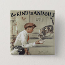 Be Kind to Animals - Vintage Poster Button