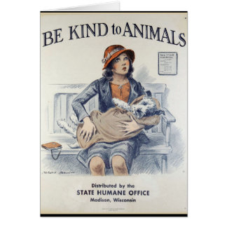 Be Kind to Animals - Vintage Poster Card