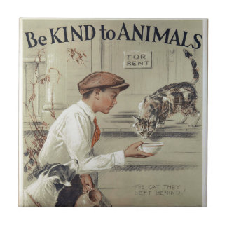 Be Kind to Animals - Vintage Poster Ceramic Tile