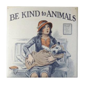 Be Kind to Animals - Vintage Poster Tile