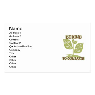 Be Kind to our Earth T-shirts and Gifts Business Card Template
